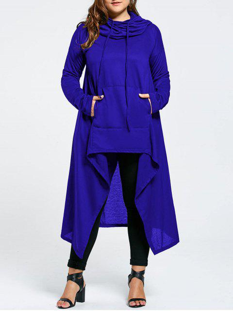 sale Plus Size Funnel Collar Maxi Asymmetric Hoodie - BLUE 4XL Mobile