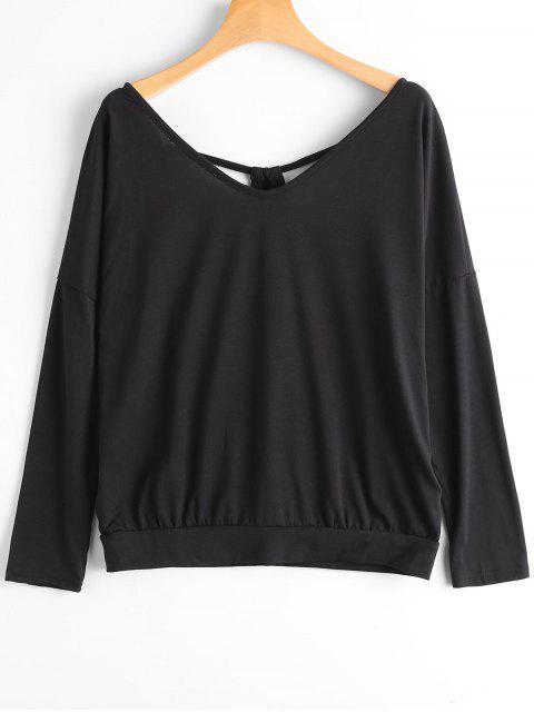 women's Cut Out Open Back V Neck T-shirt - BLACK M Mobile