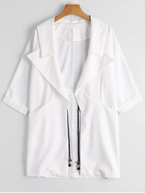 trendy Lapel Open Front Trench Coat - WHITE M Mobile