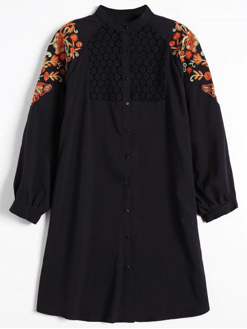 lady Floral Embroidered Lace Panel Shirt Dress - BLACK S Mobile