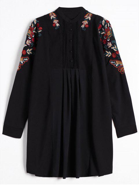 fashion Half Button Embroidered Long Sleeve Shirt Dress - BLACK M Mobile