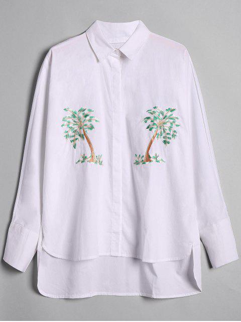 Camisa baja alta bordada árbol flojo - Blanco M Mobile