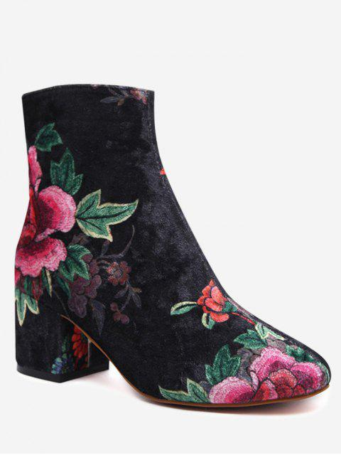 women's Velvet Block Heel Floral Pattern Short Boots - BLACK 39 Mobile