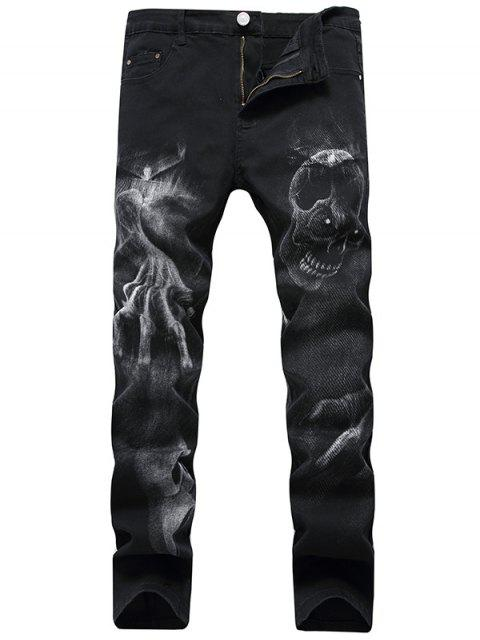 hot Skull Pattern Zip Fly Jeans - BLACK 42 Mobile