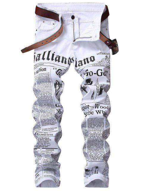 unique Journal Print Zip Fly Jeans - WHITE 32 Mobile