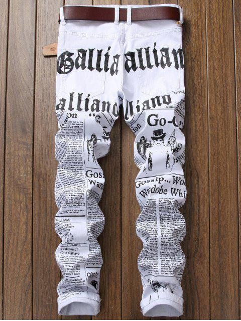 women's Journal Print Zip Fly Jeans - WHITE 38 Mobile