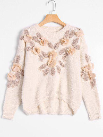 Patched Fuzzy Bowknot Applique Sweater - Off-white