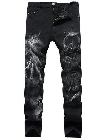 Skull Pattern Zip Fly Jeans