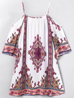 Cold Shoulder Paisley Beach Dress - Off-white L
