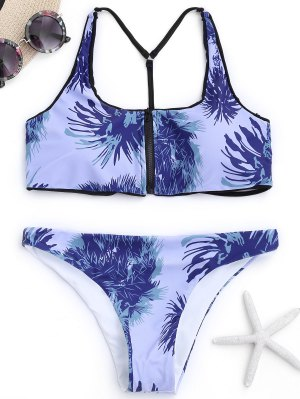 Caged Y Back Zipper Front Printed Bikini - Larkspur - Larkspur S