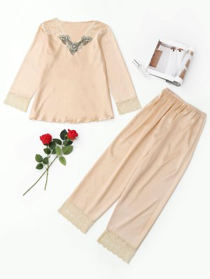 Lace Panel Satin Pajama Set - Apricot - Apricot L