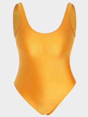 Plus Size Shiny One Piece Swimsuit - Citrus - Citrus Xl