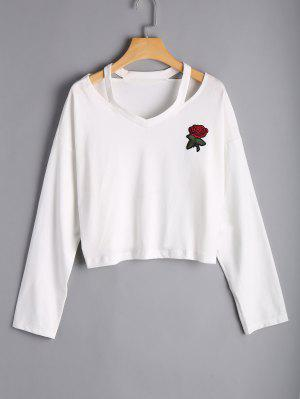Rose Embroidered Cold Shoulder Top - White S
