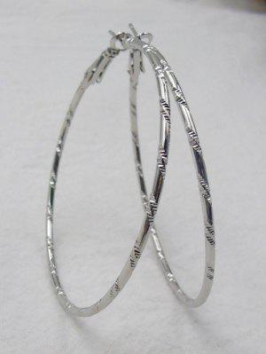 Bamboo Hoop Earrings - Silver - Silver