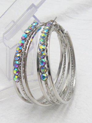 Rhinestone Metal Alloy Circle Hoop Earrings - Silver - Silver