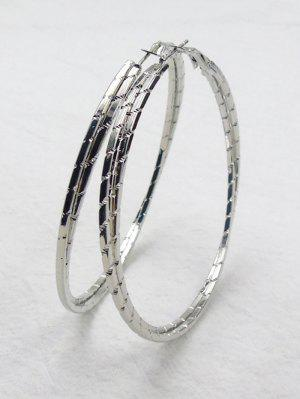 Metal Alloy Circle Hipa Hoop Earrings - Silver - Silver
