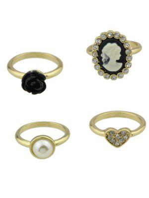 Rhinestone Flower Heart Cameo Ring Set - Golden - Golden 8