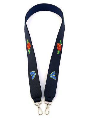 Butterfly Flower Embroidery Bag Shoulder Strap - Black