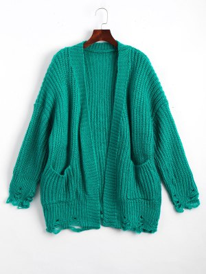Open Front Ripped Cardigan With Pockets - Green