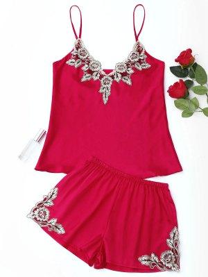 Flower Applique Satin Pajama Set - Red - Red M
