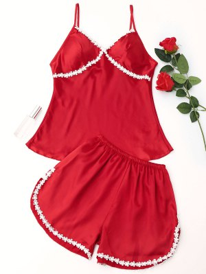 Laced Satin Pajama Set - Red - Red M
