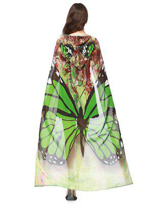 Chiffon Butterfly Design Festival Hooded Cape - Green - Green