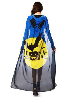 Chiffon Halloween Witch Element Festival Hooded Cape - Blue And Yellow - Blue And Yellow