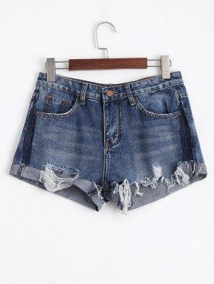 Ripped Cutoffs Denim Shorts - Denim Blue - Denim Blue S