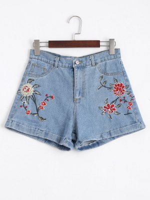 Floral Embroidered High Waisted Jean Shorts - Denim Blue 40