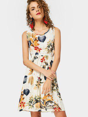Leaves Print Sleeveless A Line Dress - Multi 2xl