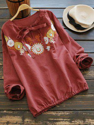Floral Embroidered Bow Tie Blouse - Brick-red