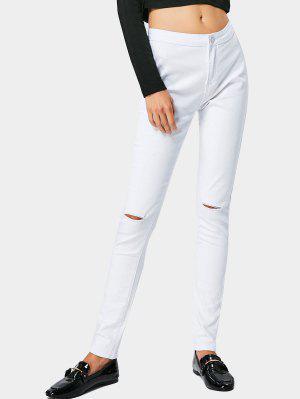 High Waist Ripped Jeans - White - White M