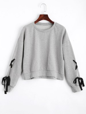 Loose Casual Lace Up Sweatshirt - Gray S