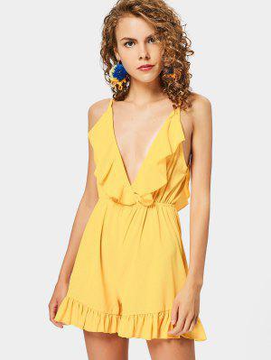 Ruffle Hem Cami Romper - Yellow - Yellow L