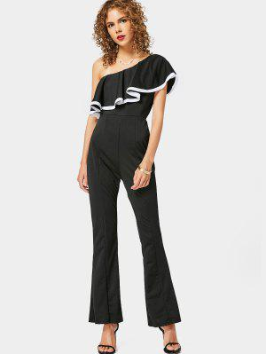 One Shoulder Ruffle Hem Bootcut Jumpsuit - Black - Black Xl