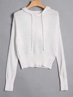 Pullover Drawstring Hooded Knitwear - White S