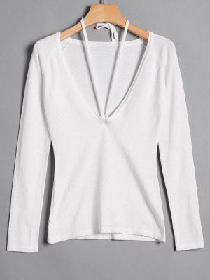 Lace Up Scoop Neck Knitwear - White M