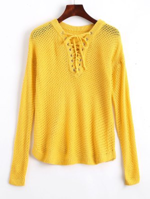 V Neck Sheer Lace Up Sweater - Yellow