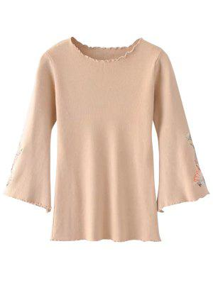 Ruffles Flare Sleeve Floral Embroidered Knitwear - Apricot