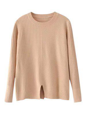 Loose Front Slit Crew Neck Sweater - Khaki
