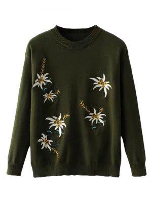 Crew Neck Floral Embroidery Sweater - Army Green