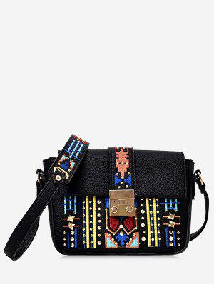 Embroidery Textured Leather Rivets Crossbody Bag - Black