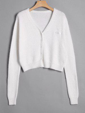 Knitted Button Up Cardigan - White S