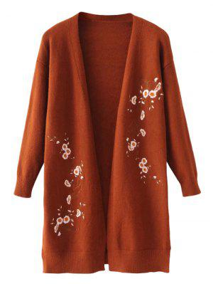 Long Open Front Floral Embroidered Cardigan - Coffee