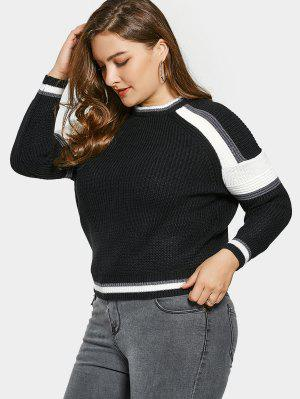 Color Block Plus Size Sweater - Black - Black