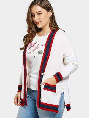 Plus Size Color Block Cardigan - White - White