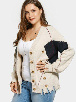 Plus Size Distressed Button Up Cardigan - Khaki - Khaki