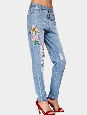 Destroyed Floral Embroidered Pencil Jeans - Denim Blue - Denim Blue L