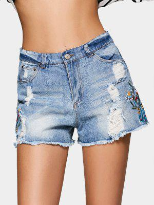 High Waisted Ripped Embroidered Denim Shorts - Denim Blue - Denim Blue L