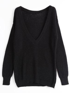 Loose Chunky V Neck Sweater - Black